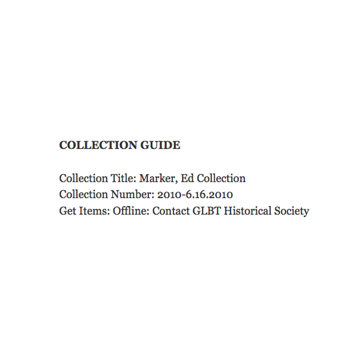 Collection Guide